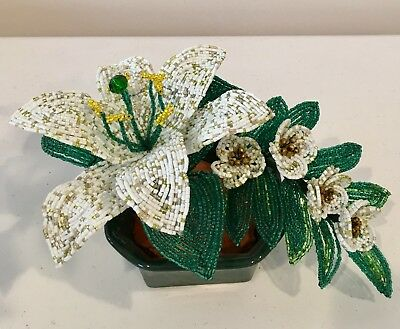 French beaded flowers ( White lily arrangement)