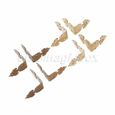 Retro Chinese Style Hardware Corners for Cabinet Furniture Pure Brass 4Pcs/Set