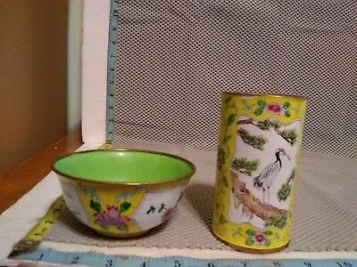 Vintage Chinese Green Cloisonne Enamel Rice Bowl & Cup Marked