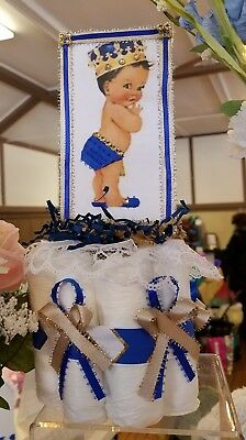 Royal Prince Diaper Centerpiece in Royal blue, gold and white.