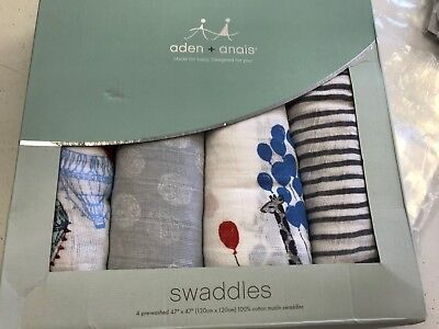 "Aden & Anais Classic Cotton Muslin 47"" x 47"" Baby Swaddles Dream Ride4 Pack NEW"