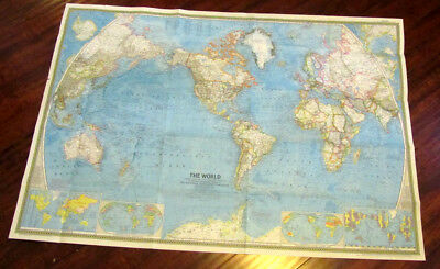 "Rare National Geographic Society Magazine Map The World 1965 42.5"" X 29.5"""