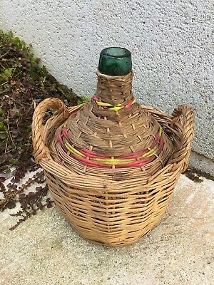 Vintage VIRESA green glass Woven Wicker basket demijohn bottle wine 2 handle 5 L