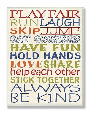 The Kids Room by Stupell Play Fair Typography Rectangle Wall Plaque
