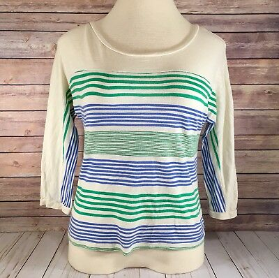Old Navy Knit Top - Off White with Green and Blue Stripes - Size S