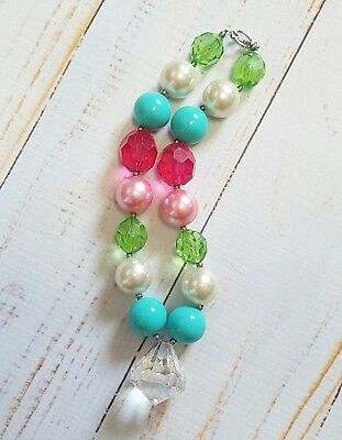 Handmade Chunky Gumball Pendant Necklace Child Size Photography Prop EUC