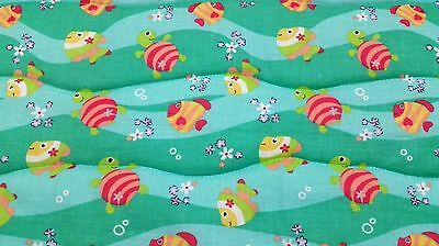"""NEW HANDMADE """"AQUARIUM """"35x43in COTTON,UNISEX BABY/TODDLER  QUILTED BLANKET GIFT"""