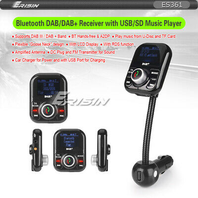 Digital Radio DAB+ Car Charger LCD A2DP Bluetooth USB SD FM RDS Duplex MCX 361GB