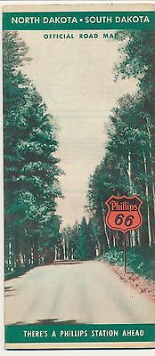 1942 Official Phillips 66 Road Map  Never used North Dakota & South Dakota ND SD
