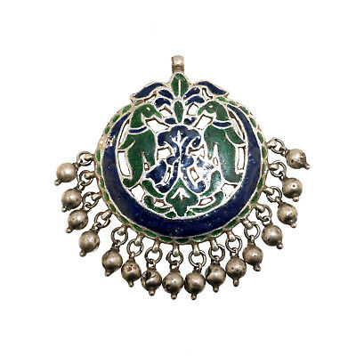(2063) Antique enameled silver pendent. India.