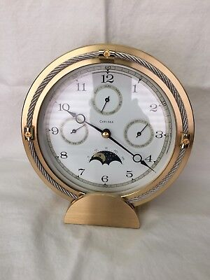 Chelsea Mantel Clock, 3 Function, Day/Night Dial, Brass Case, Mint, 6in tall