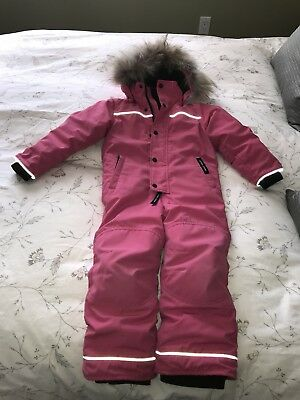 Canada Goose Girl Size 4-5 Rare Pink Full Grizzly Hooded Snowsuit