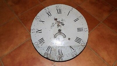 antique Long case round clock dial and movement 13 inch for restoration