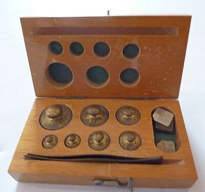 Brass Scale Weights, Original Wood Case, Antique, 1 Oz To 0,0.3 Oz., Tweezers