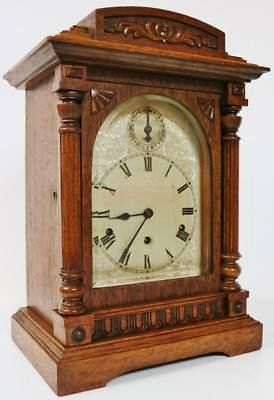 Antique Mahogany Striking Mantel Bracket Clock Musical Westminster Chime Kienzle