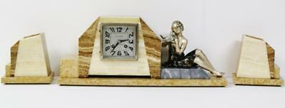Antique Art Deco French Lady Figural Marble Desk 3 Piece Garniture Mantel Clock
