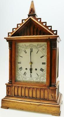 Antique Architectural Mahogany 8 Bell Westminster Chime Musical Bracket Clock