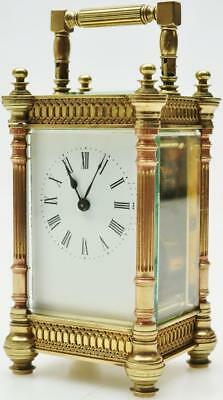 Lovely Antique 8 Day French Bronze Carriage Mantel Clock C1880 5 Glass Panels