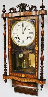 Anglo/American Drop Dial Wall Clock Marquetry Inlaid Carved Striking Wall Clock
