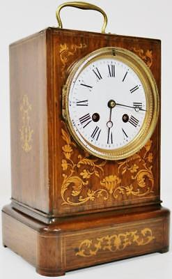 Antique Inlaid French Officer Rosewood 8 Day Bell Striking Mantel Carriage Clock
