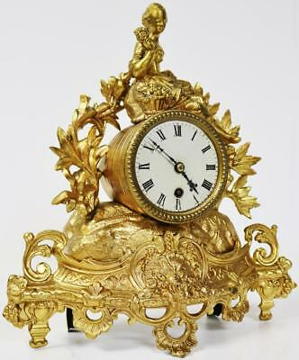 French Classical Antique Pierced Gilt Metal Figural Mantel Clock Fully Working