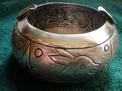 OLD Sterling Silver Mexican Ash Tray - Tooled Animal Designs - 105.3 g.