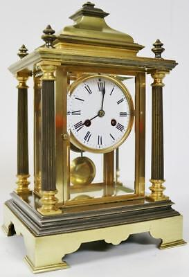 Stunning Antique Bronze 4 Glass Bell Striking French Cubed 8 Day Mantel Clock