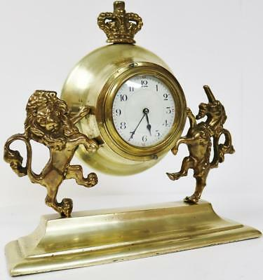 English Antique Ormolu Platform Escapement Royal Coat Of Arms 8 Day Mantel Clock