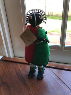 """Large South African Beaded Hand Made Ndebele Fertility Doll 10"""" Tall"""