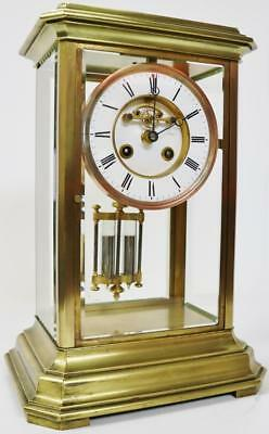 Rare Original Large Antique French 8 Day 4 Glass Crystal Regulator Mantel Clock