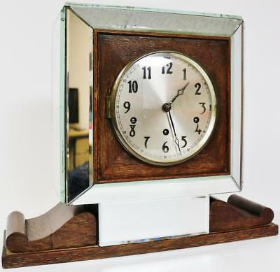 Antique Art Deco 8 Day Westminster Chime Musical Mantel Clock Oak & Mirror Case