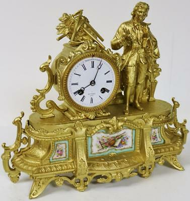 Lovely Antique French Gilt Spelter Aqua Sevres Figural Striking Mantle Clock