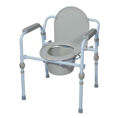 Folding Bedside Commode With Bucket And Splash Guard Snap On Seat And Lid New