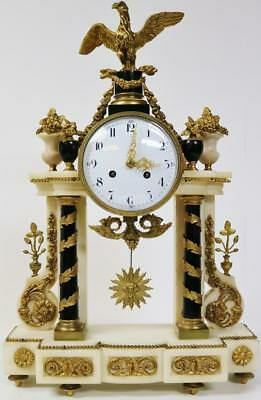 Empire French Antique Marble & Bronze 8 Day Bell Striking Mantle Clock