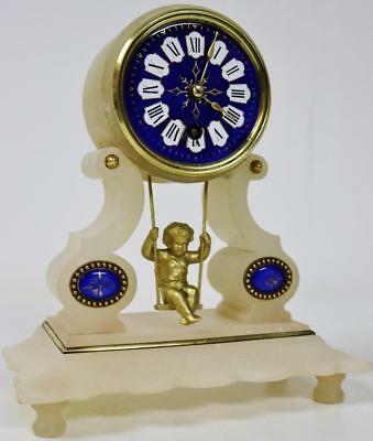 Antique French 8 Day Farcot Swinging Cherub Cobalt Blue & Marble Mantel Clock