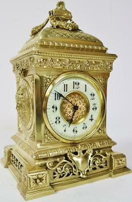 French Antique Bronze Ormolu Mantel Clock 8 Day Platform Escapement Cubed C1880