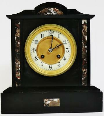 Impressive Antique French 8 Day Polished Slate Marble Striking Mantel Clock