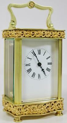 Antique French Bronze Ormolu 8 Day Pierced Mantel Serpentine Carriage Clock 1890