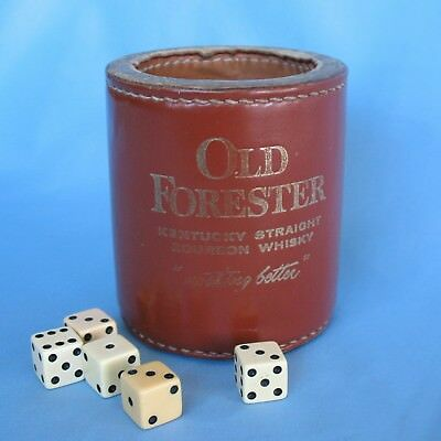 Vtg Old Forester Kentucky Whisky Bar Game Thick Leather Dice Shaker Cup + 5 Dice