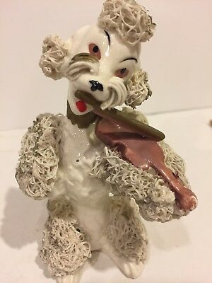 Vintage Antique White Spaghetti Poodle Dog Figurine Figure  JAPAN