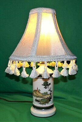 Vintage Victorian couple and town Lamp with Custom Shade RARE