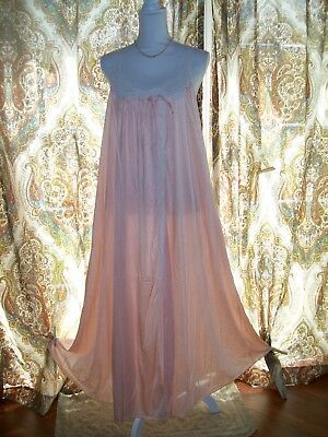Vtg Full Sweep Pink Nightgown By Val-Mode Sz Med. Nylon Gorgeous!!!