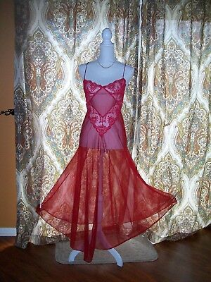 VTG. GLYNDONS Nightgown RED FLOWY LONG SWEEP NIGHTGOWN SISSY  SZ LG EXCELLENT