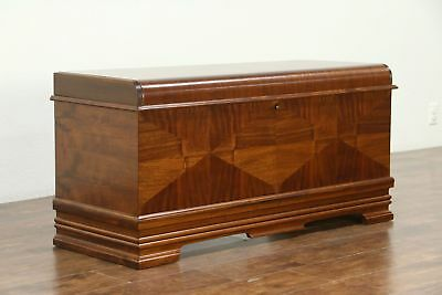 Art Deco Waterfall Vintage Cedar Lined Trunk or Blanket Chest, Caswell of IN
