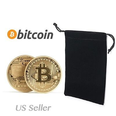 10x Bitcoin Metal Physical Commemorative Gold Plated Coin Virtual Currency Gift