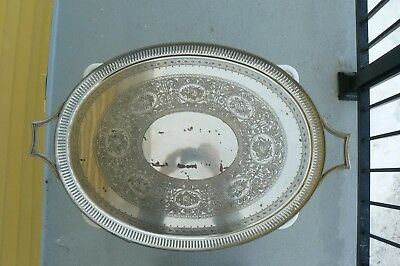 VINTAGE 4000Gr. HEAVY SILVERPLATE 30'' X 19 1/4'' LARGE OVAL SERVING TRAY.