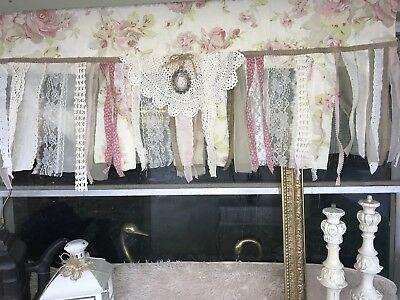 New French vintage Twine -Shabby Rustic Chic BURLAP  Valance Curtain Floral
