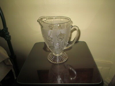 Vintage Jeannette Iris & Herringbone Clear Glass Water Pitcher Depression