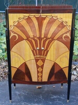 All marquetry extraordinary Art Deco inspired book case bar cabinet