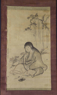 JAPANESE HANGING SCROLL ART Painting  Asian antique  #E1196